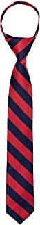 "Jacob Alexander Stripe Woven Boys 14"" College Striped Zipper Tie"