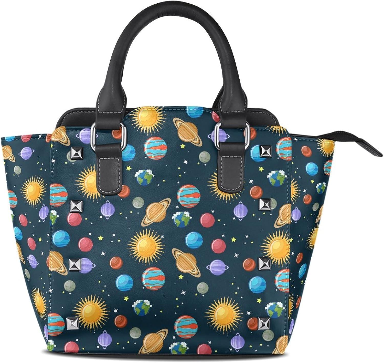 My Little Nest Women's Top Handle Satchel Handbag Cartoon Space Planets Sun and Stars Ladies PU Leather Shoulder Bag Crossbody Bag