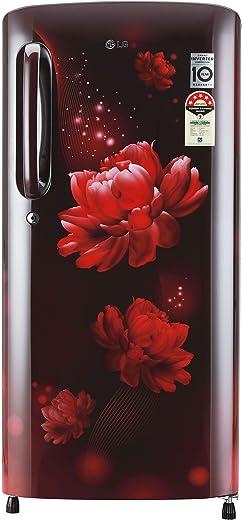 LG 190L 5 Star Smart Inverter Direct-Cool Single Door Refrigerator (GL-B201ASCZ, Scarlet Charm, Fastest Ice Making) 1