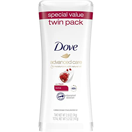Dove Advanced Care Antiperspirant Deodorant Stick for Women, Revive, for 48 Hour Protection And Soft And Comfortable Underarms, 2.6 oz, 2 Count