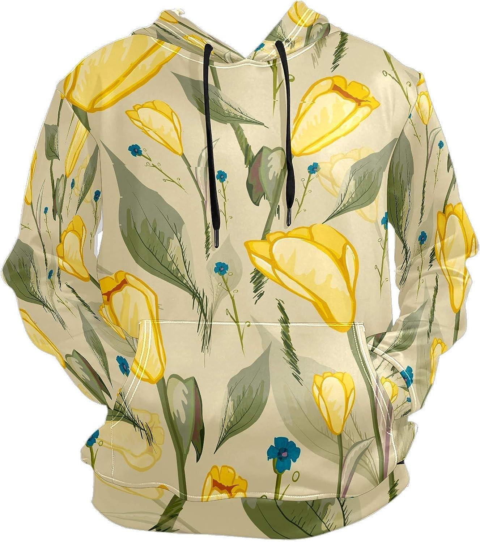 Men's Sport Hoodie Vintage Yellow Tulips Big and Tall Hoodies for Men Women Oversized Hooded Sweatshirt Hip Hop Pullover Hoodie Midweight Hood for Boys Girls