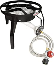 GasOne 200, 000 BTU Single Burner Outdoor Stove Propane Gas Cooker with Adjustable 0-20Psi Regulator & Hose Perfect for Home Brewing Turkey Fry Outdoor Cooking Maple Syrup Prep