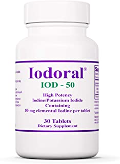 Optimox Iodoral 50 mg - Original High Potency Iodine Supplement - Energy Support - 30 Tablets