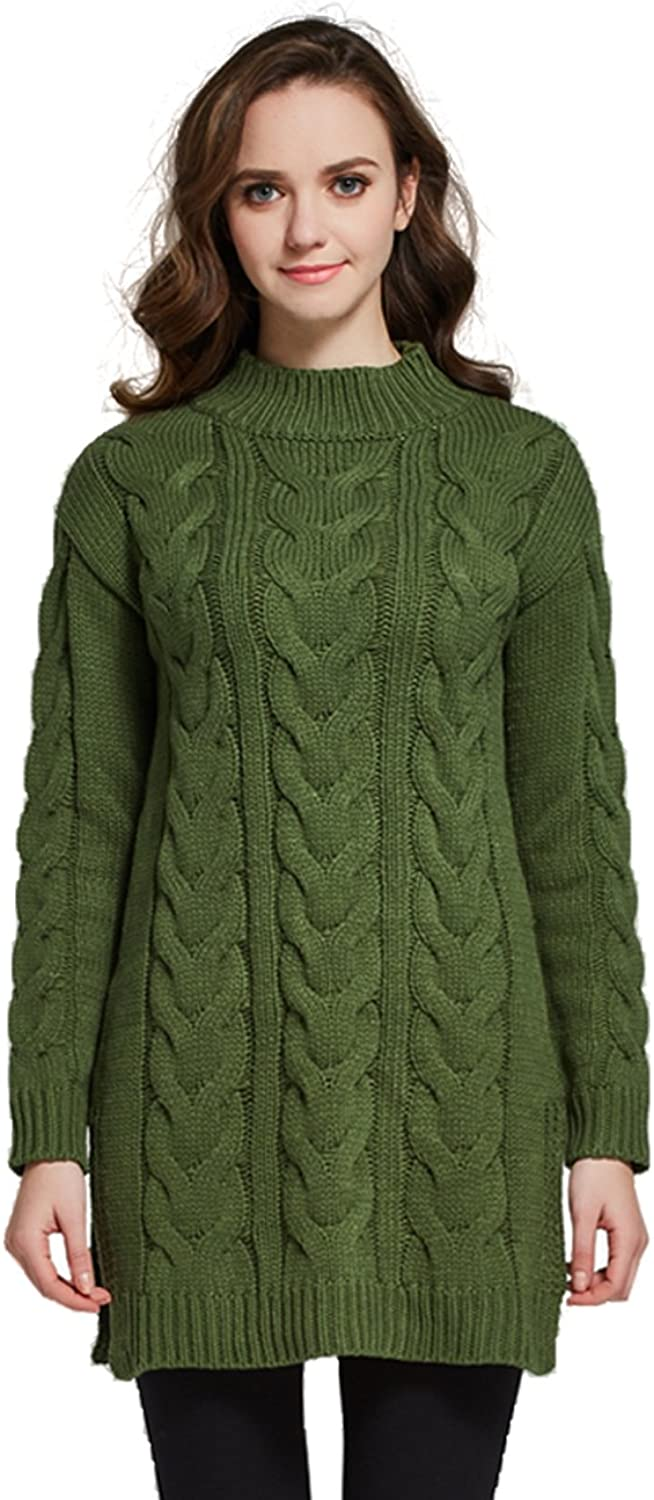 Camii Mia Women's Mock Neck Cable Knit Sweater