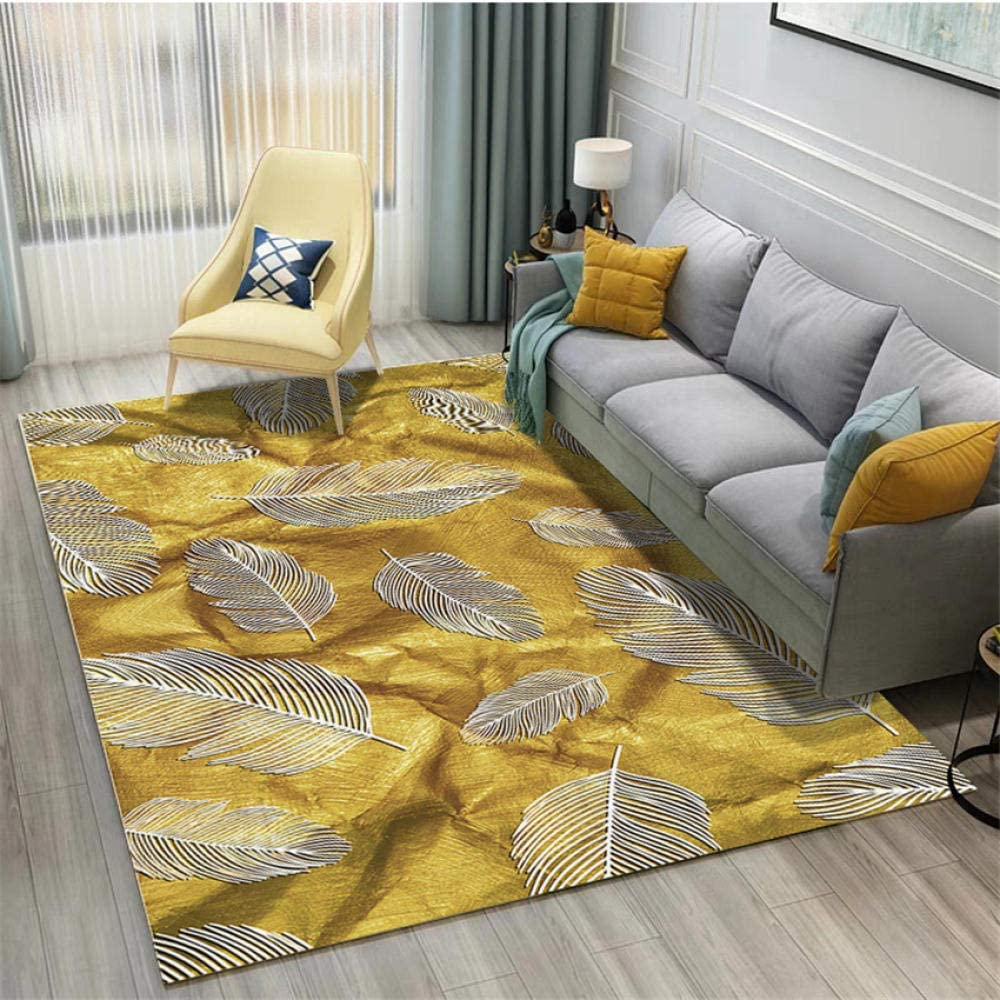 Design Rug Contemporary Rug Living Room Rugs Short Straight Pile Carpets Gold Yellow Silver Feather Pattern Ultra Soft Rug 1 4x2m Kitchen Dining