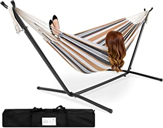 Best Choice Products Portable Indoor Outdoor 2-Person Cotton Double Hammock Set w/ Steel Stand and Storage Case, Desert Stripes