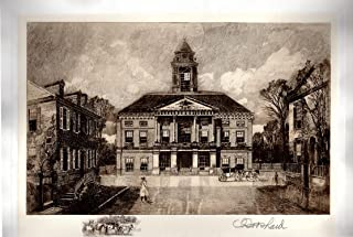 Federal Hall, New York City: Robert Shaw Etching, Signed & Numbered Artist's Proof, Chine-colle with remarque, 1906