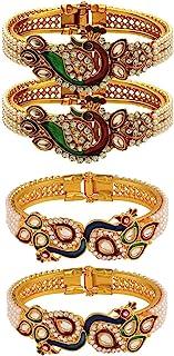 Efulgenz Fashion Jewelry Indian Bollywood 14 K Gold Plated Faux Pearl Kundan Rhinestone Peacock Bracelet Bangle (2 Pc)