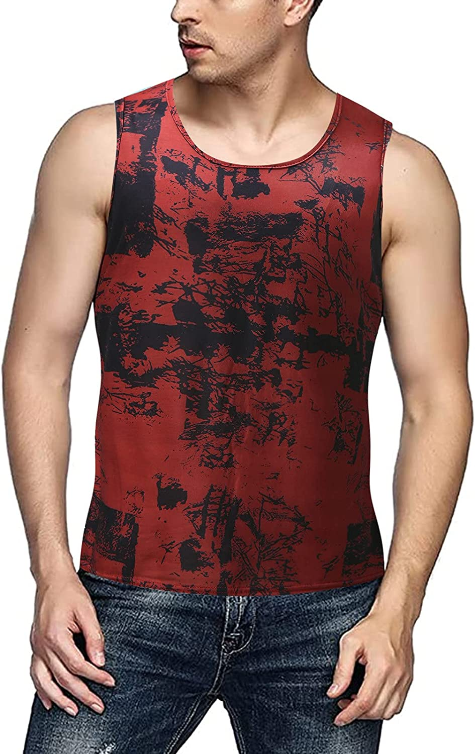 FUNEY Mens Tank Tops Sleeveless Gym Muscle Fitness Bodybuilding T Shirt Breathable 3D Print Lightweight Novelty Jersey Tees