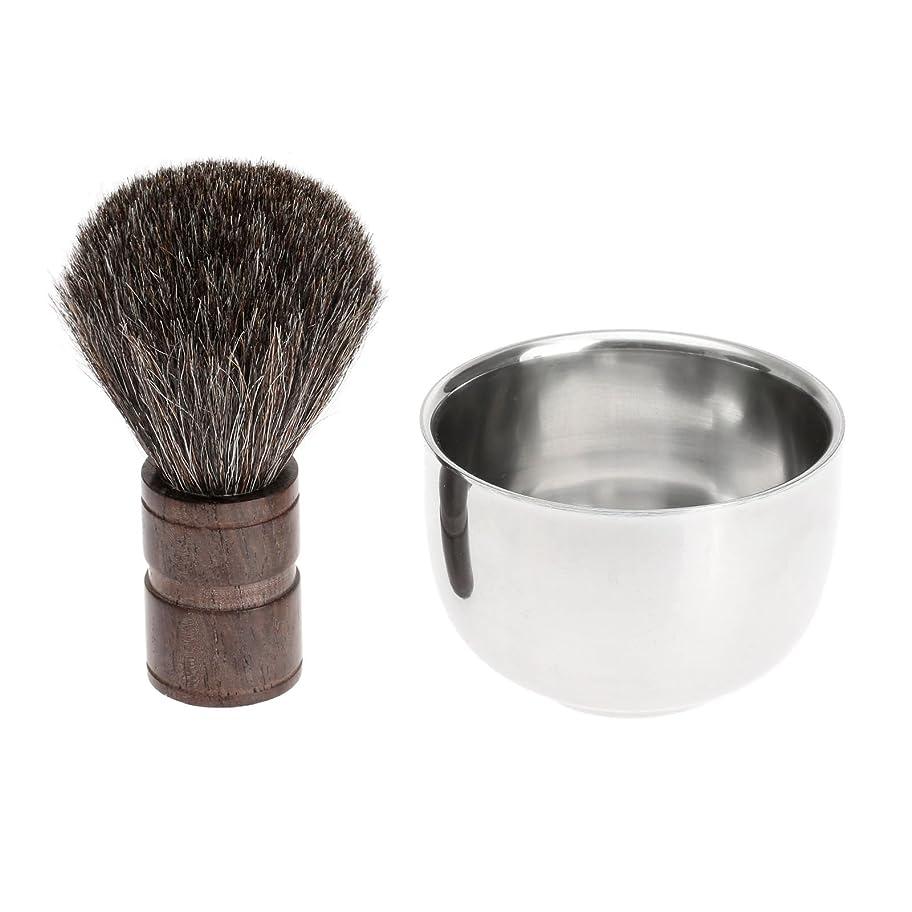 2PC/セット メンズシェービング用 シェービングブラシ +ステンレス鋼のボウル 理容 洗顔 髭剃り