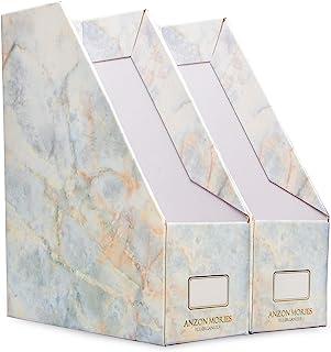 ANZON MORIES Magazine File Holder with Golden Marble Design 2 Pack, Premium Document Storage Box, Book Bin, Desk File Rack...