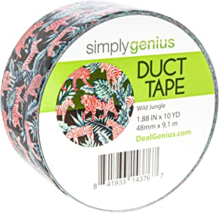 Simply Genius (Single Roll) Patterned and Colored Duct Tape Roll Craft Supplies for Kids Adults Patterned Duct Tape Colors, Wild Jungle