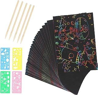 LAMMOK 50 Feuilles Carte à gratter Dessin Gratter pour Enfants Kits d'artisanat pour Les Enfants Bricolage Scratchers colo...
