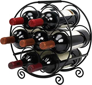 Wine Racks Countertop, 7 Bottles Wine Organizer Stand, Metal Free Standing Wine Storage Holder, Water Bottle Holder Stand-...
