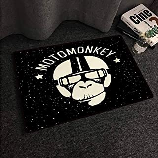 Vintage Entrance Mat Outer Space,Sign Alien Monkey with Astronaut Costume in a Galaxy with Stars Poster,Black and White,W35 xL47 Contemporary Indoor Area Rugs