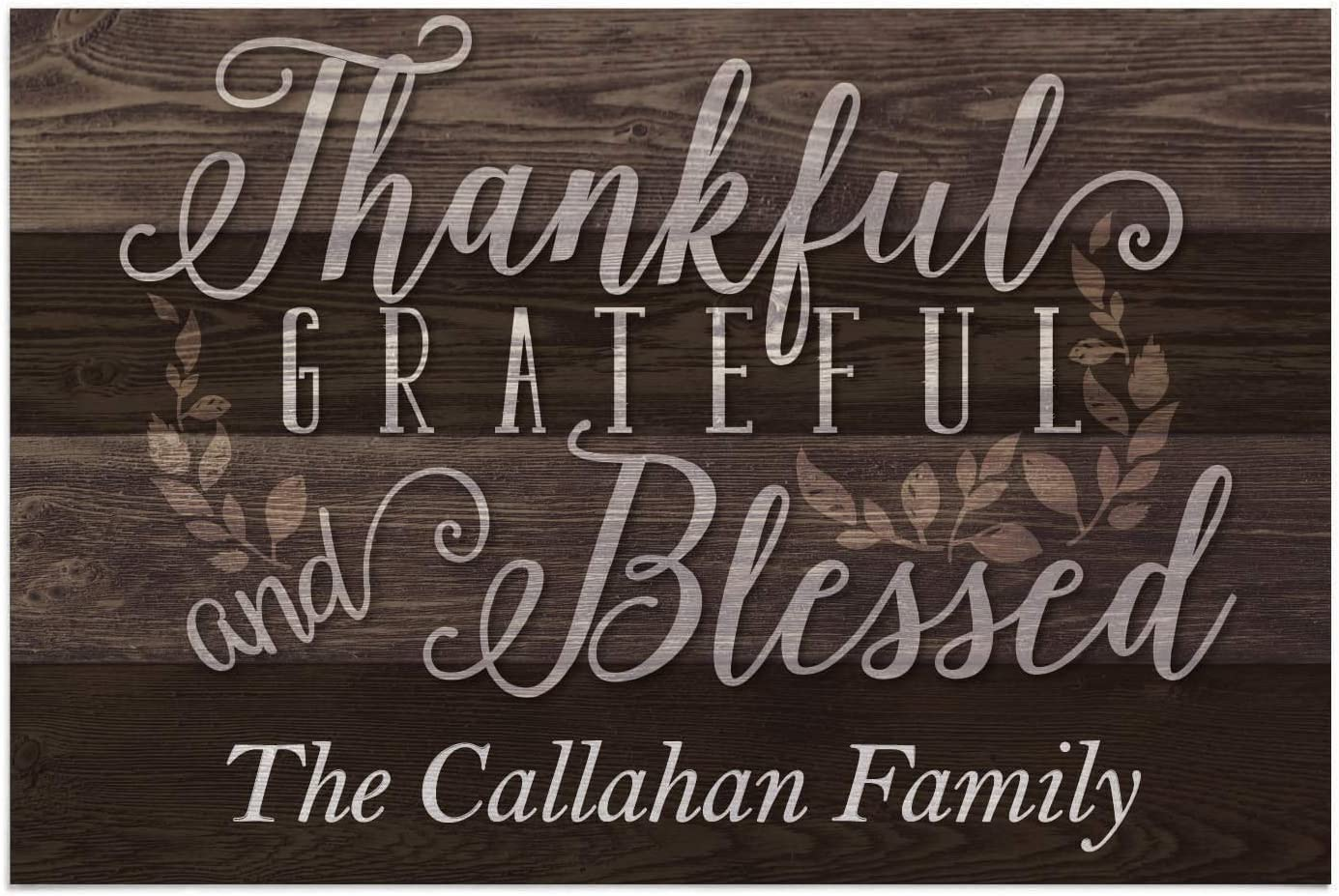 Thankful Grateful and Blessed Personalized Doormat - Brown Custom Entry Door Mat with Name Printing on Durable 1/8