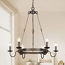 Lampundit 6 Light Farmhouse Chandeliers for Dining Room Kitchen Island Lighting, Rustic Lighting Hanging Fixture, 28 inche...