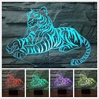 Jinnwell 3D Tiger Night Light Animal Lamp Illusion Night Light 7 Color Changing Touch Switch Table Desk Decoration Lamps Perfect Christmas Gift with Acrylic Flat ABS Base USB Cable Toy