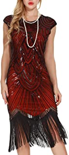 Women's 1920s Flapper Dresses - Sequined Beaded Fringed Emblished Great Gatsby Dresses
