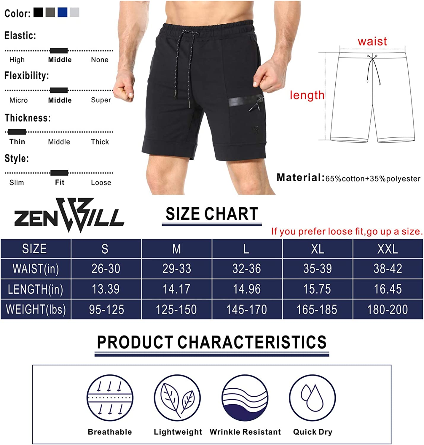 ZENWILL Mens Sidelock Workout Running Shorts Gym Bodybuilding Fitness Shorts with Pockets