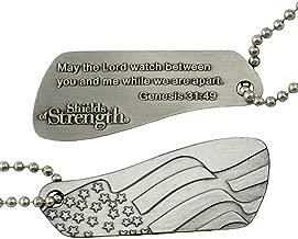 Genesis 31:49 Split Shield Antique Finish Dog Tag Necklace-2 Part