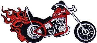 Aufnäher Bügelbild Aufbügler Iron on Patches Applikation Motorrad Flammen Chopper Tattoo