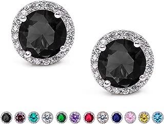 Cubic Zirconia Stud Earrings, 10mm Round Cut, Rhinestone Hypoallergenic Earrings for Women & Girls