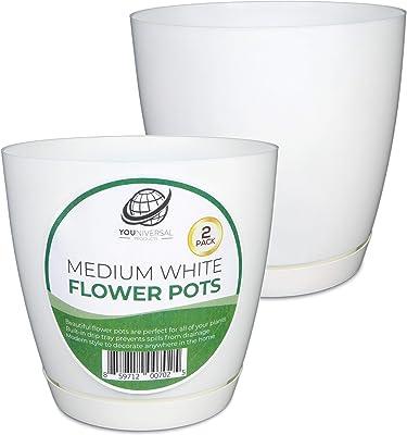 Medium White Plastic Flower Pot (2 Pack)