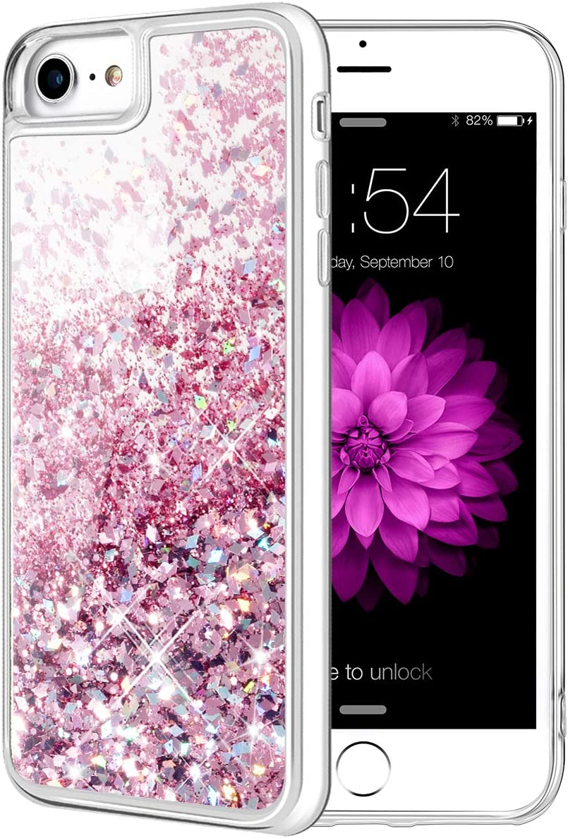 Caka iPhone SE 2020 Case, iPhone 7 8 SE 2020 Glitter Case for Girls Women Bling Glitter Sparkle Luxury Flowing Floating Soft TPU Liquid Case for iPhone 7 8 SE 2020 (4.7 inch) (Rose Gold)