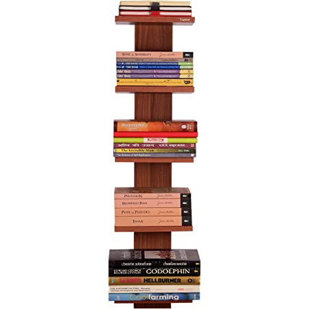 Captiver Donald Wooden Wall Mounted Book Shelf for Bedroom Study Room Kids Living Rotating Home Library Door Rack with Steel Long Narrow Diwali