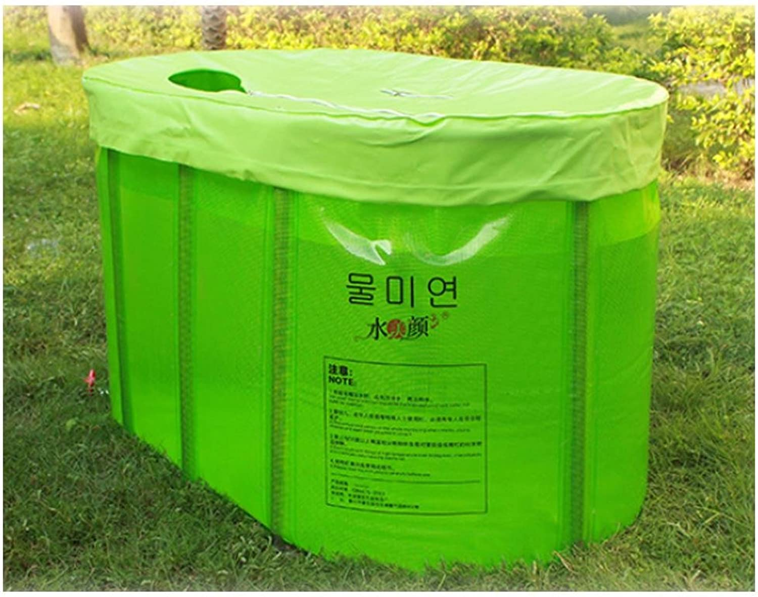 YFCNon-inflatable twin folding adult bath tub bathtub barrel barrel bath barrel , green