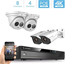 Amcrest 4K Security Camera System w/ 4K 8CH PoE NVR, (4) x 4K IP67 Weatherproof Metal Turret Dome & Bullet POE IP Cameras, 2.8mm Lens, Hard Drive Not Included, NV4108E-T2499EW2-2496EW2 (White)