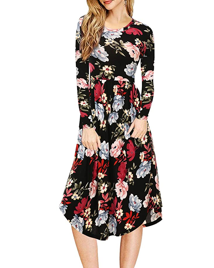 Mixfeer Womens Floral Print Striped Dress Casual Work Long Sleeve Dress Swing Midi Dress with Pockets