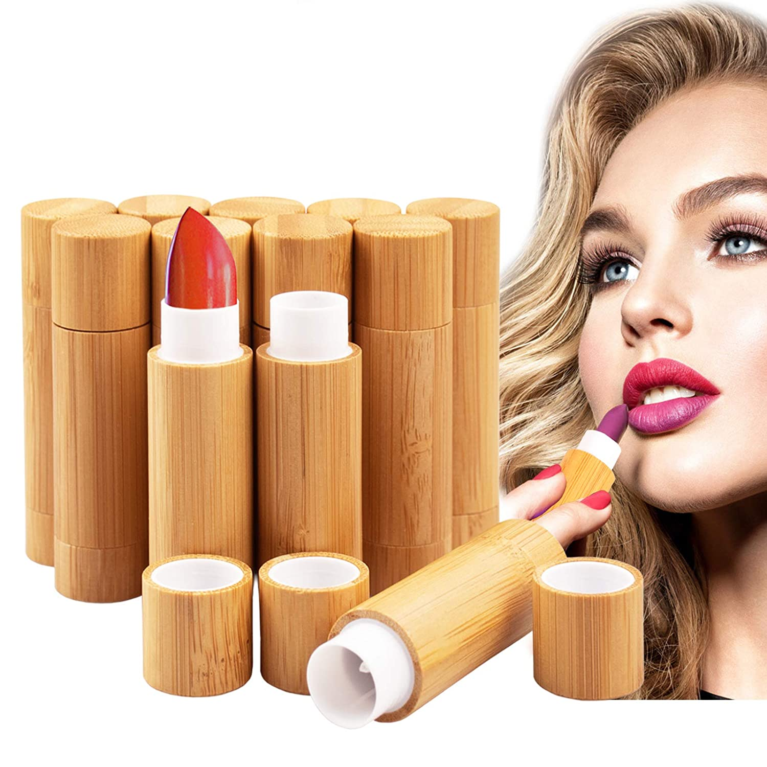 12Pcs Bamboo Empty Lipstick Tubes, AUHOKY 5.5g Refillable DIY Lip Balm Tube Containers with Clear PP Plastic Inner, Cosmetic Lipstick Lip Gloss Deodorant Case Holder For Women Girls Makeup