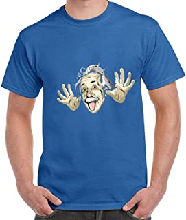Spit Tongue Einstein Printing Short-Sleeved T-Shirts for Men
