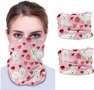 Maltipoo alla hjärtans dag söt vit hund husdjur söt hund – rosa män och kvinnor ansikte skydd bandana, multifunktionell hu...