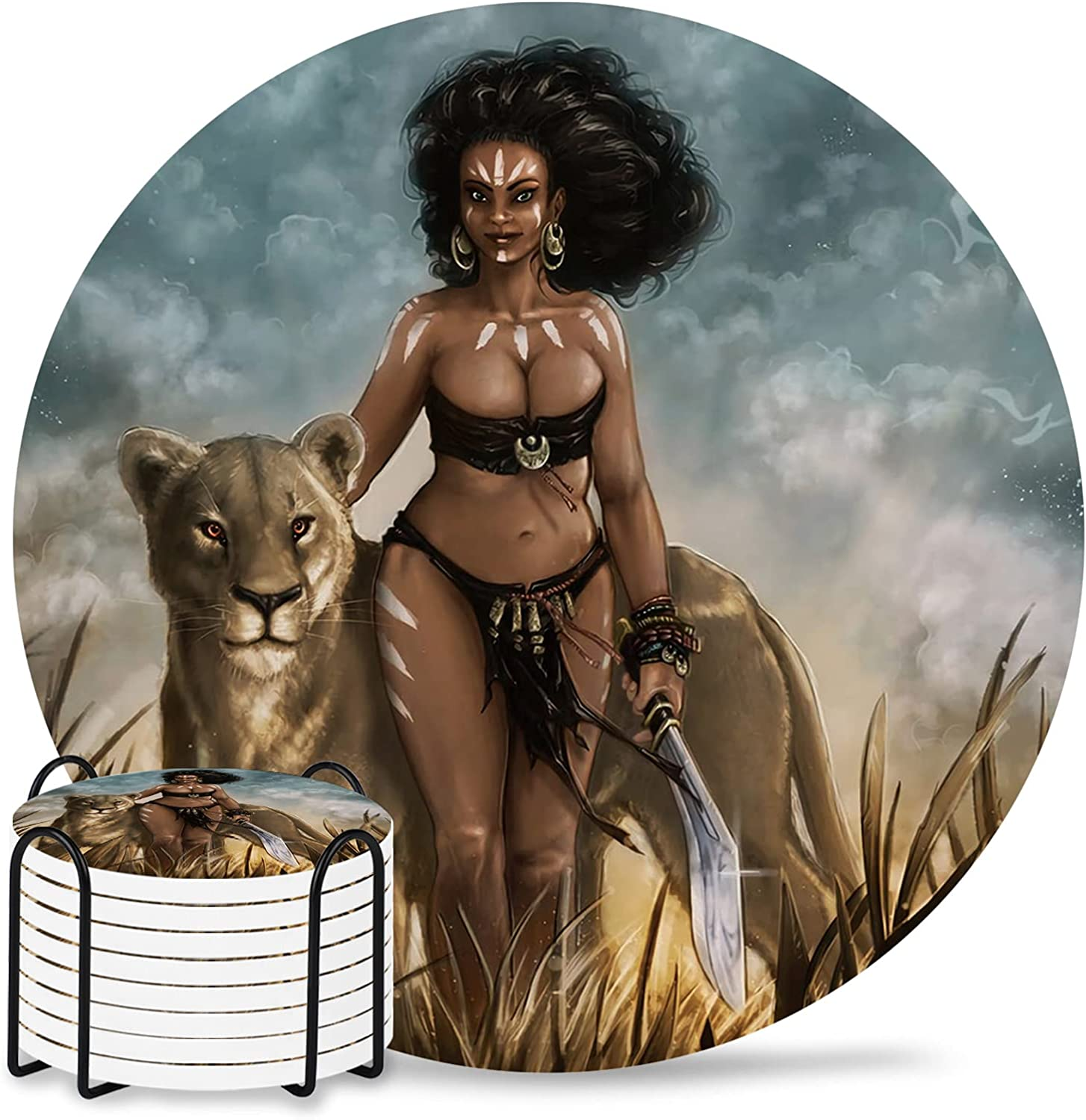 Super special price African Women Excellent Absorbent Coasters 8-Piece Set Cerami with Holder