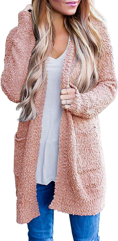 MEROKEETY Women's Long Sleeve Soft Chunky Knit Sweater Open Front Cardigan Outwear Coat