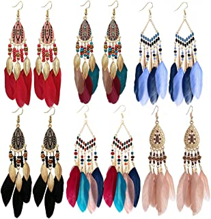 feather earrings leather
