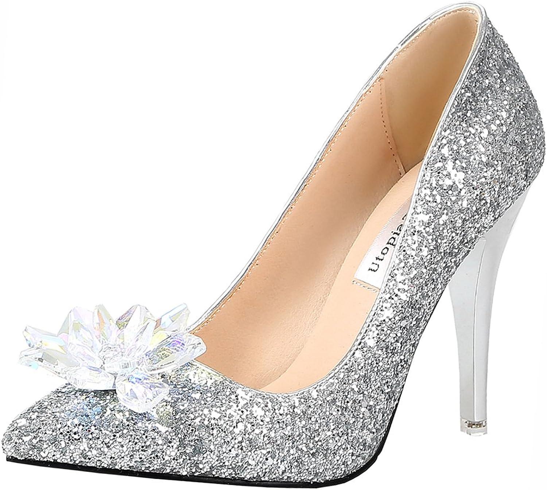 Atyche Women's Stiletto High Heels Wedding Glitter Pumps Elegant Pointed Toe Bride Summer shoes