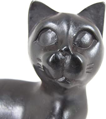 Land of Simple Treasures Lucky Feng Shui Cat Figurine - Small Sitting Cat Statue Paperweight - Collectible Resin Sculpture fo
