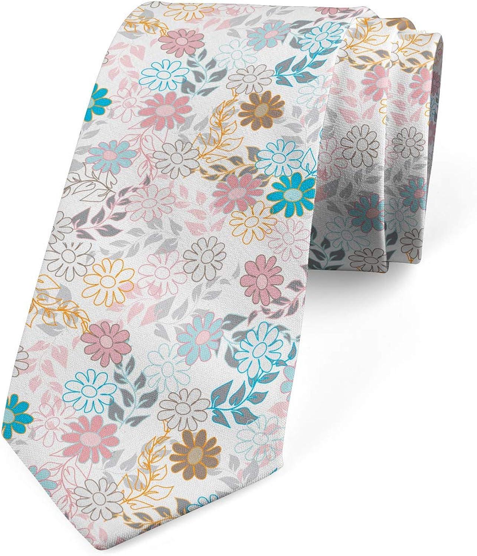 Ambesonne Necktie, Pastel Daisies, Dress Tie, 3.7