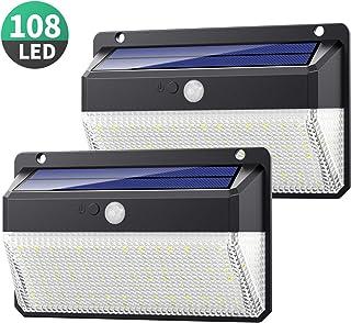 Yacikos Luz Solar Exterior 108 LED, [270°Super Brillante-2200mAh] Foco Solar Exterior con Sensor de Movimiento, Luces Solares Impermeable Lámpara Solar de Seguridad y 3 Modos para Jardín, 2 Piezas