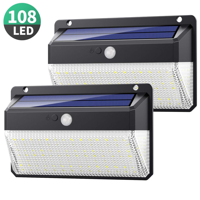 Yacikos Luz Solar Exterior 108 LED, [270°Super Brillante-2200mAh] Foco Solar Exterior con Sensor de Movimiento, Luces Solares Impermeable Lámpara Solar de Seguridad y 3 Modos para Jardín, 2 Piezas: Amazon.es: Hogar
