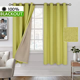 BGment 100% Blackout Curtains with Liner for Bedroom, Grommets Thermal Insulated Textured Linen Lined Curtains for Living Room (52 x 63 Inches, 2 Panels, Muted Lime)