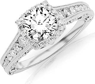 1.75 Carat Round Cut Designer Halo Channel Set Round Diamond Engagement Ring with Milgrain (K Color, I2 Clarity)