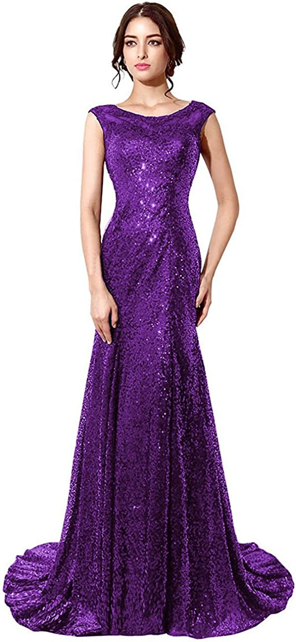 anmor Women's Mermaid Sequined Long favorite Prom Dress Sale SALE% OFF Formal Go Evening