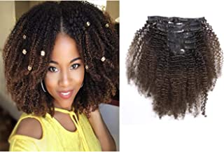 Afro Kinkys Curly Hair Extensions Clip In Human Hair 4B Natural Hair Clip Ins Full Head Afro Curly Clip In Hair Extensions For Black Women Dark Brown Kinkys Curly Clip In Hair Extensions 10Inch # 1b/4