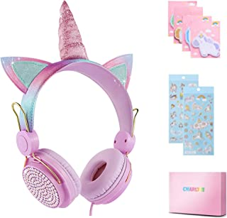 Charlxee Kids Headphones with Microphone Over-Ear/On-Ear for School/PC,HD Sound Unicorn Headphones for Children Boys Girls...