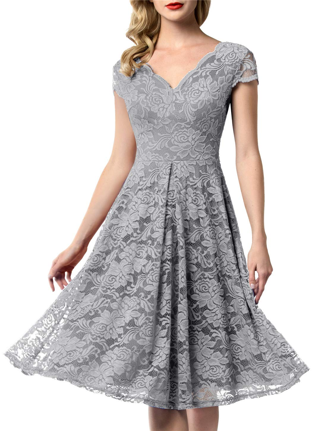 Mother Of The Bride Dresses - Women's Vintage Floral Lace Bridesmaid Dress 3/4 Sleeve Wedding Party Midi Dress